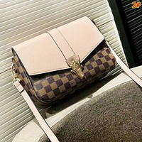 LV Louis Vuitton Fashion New Monogram Tartan Print Leather High Quality Shoulder Bag Women 2#