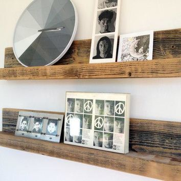 Two 30 Inch Rustic Wall Mounted Wood Shelves // Upcycled Recycled Repurposed Home Decor