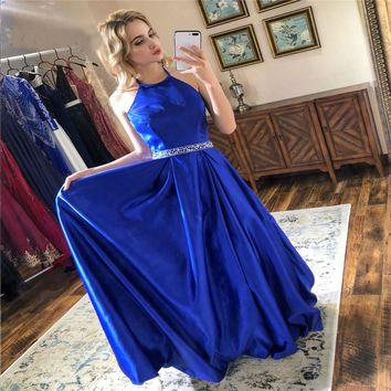 Royal Blue Evening Dresses Long Satin Beaded Halter Prom Party Gown