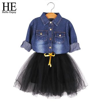 girls dress winter 2017 children's princess dresses wedding kids girls clothes Long sleeve denim jacket+Black skirts suits