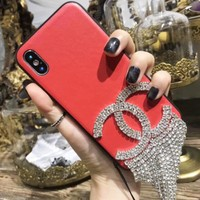 Chanel New Fashion Women Luxury Leather Diamond Tassels Transparent Phone Shell Case For iphone 6 6plus iphone 7 7plus iphone 8 8plus iphone X Red I12321-1