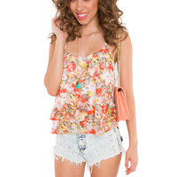 Madeline Floral Top - Coral