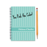 2015-2016 Monthly Planner, Personalized 12 month Calendar Notebook, Start Any Time, Add Your Name, Custom Gift Idea, SKU: pn chevron