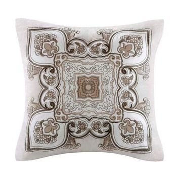 Odyssey Cotton Damask and Floral Motif Decorative Pillow - Home Decor | Echo Design