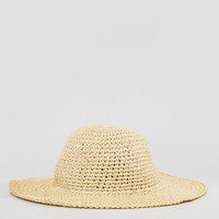 ASOS Straw Crochet Short Brim Floppy Hat With Size Adjuster at asos.com