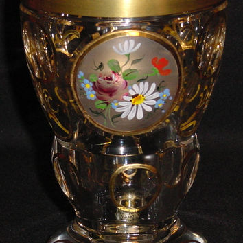 844034 Crystal Glass With Cut Satin Circle With Painted Flowers, Round Cuts On Back & 6 Round Cuts On Stem & 6 Oval On Base Outlined With Gold & Decorations