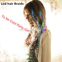 20pcs Hot Sale Colorful Flash Led hair Braids Novelty Christmas Halloween Decoration Party Holiday led Hairs Flashing Hair!