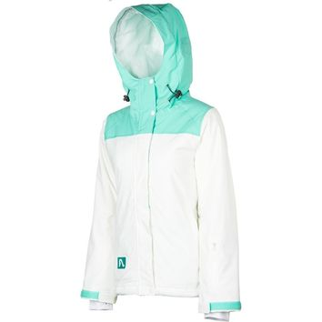 FlyLow Womens Dolce Vita Snowboard & Ski Hooded Jacket Coat White/Cascade Medium