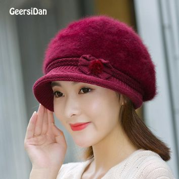 New High Quality Artist rabbit Beret Hat For Women winter keep warm fashion Female beret Cap Casual Dome Bare Chapeu hats Boina