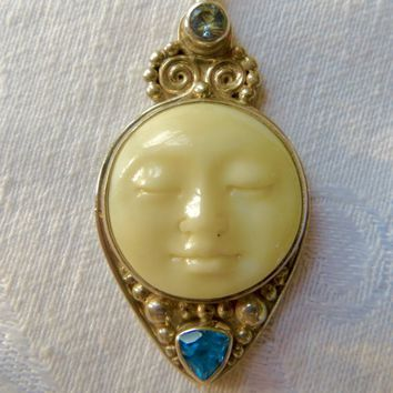 Vintage Sajen Moon Goddess Pendant Blue Topaz Aquamarine Gemstones Sterling Sajen Moon Necklace