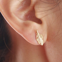 Gold Autumn Leaf Earrings