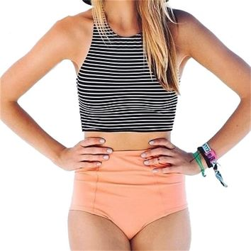 Echoine Women's High Waist Bikini Set Striped Crop Top Tank Swimwear Women Sexy Slimming Swimsuit Two Piece Bathing Suit Bikinis