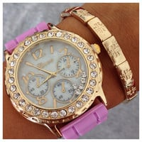 Girly In Gold Watch and Bracelet Set- Tanya Kara Jewelry