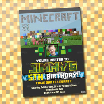 mine craft Games Movie, Birthday Party, Invitation Card Design