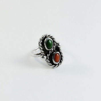 Sterling Silver Southwestern Ring Size 3.75 - Red Coral & Malachite Ring - Multistone Ring - Sterling Gemstone Ring