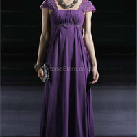 A-line Square Chiffon Floor-length Purple Ruffles Evening Dress at dressestore.co.uk