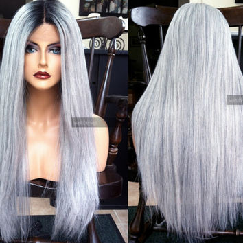 "USA // Silver Gray Yaki Texture 24"" Long Heat SAFE Lace Front & Part OMBRE White Wig w/ Dark Root"