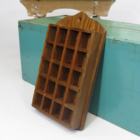 Thimble Display Case Wood Room for 20 Thimbles or Miniatures Vintage
