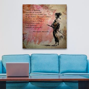 There Is Nothing Outside Yourself Miyamoto Musashi Quote Samurai Art Framed Canvas Wall Art Decor