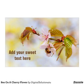 Bee On A Cherry Flower Lawn Sign