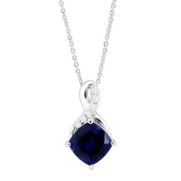 2 5/8 ct Created Sapphire & White Sapphire Pendant in Sterling Silver