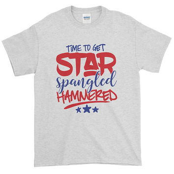 Time To Get Star Spangled Hammered T-shirt  |  4th of July  | USA  |  America  |  Merica  |  Beer shirt  |  Red White and Blue  |  sh-19