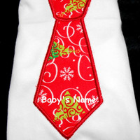 Baby Boy Bib, Necktie Bib, Personalized Bib, Christmas Bib, Red or Blue, Baby Bib, Toddler Bib, Baby Shower Gift,  Soft Bib, Snowman Bib