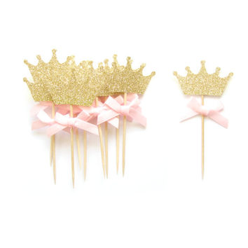 Pink Bow & Gold Glitter Crown Cupcake Toppers - Crown Cupcake Toppers, Birthday Cupcake Topper, First Birthday Cupcake Toppers
