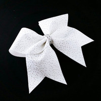 Cheer bow, white cheer bow, glitter cheer bow,  cheerleading bow, cheerleader bow, cheer camp bow, cheer tryouts bow, pop warner cheer bow