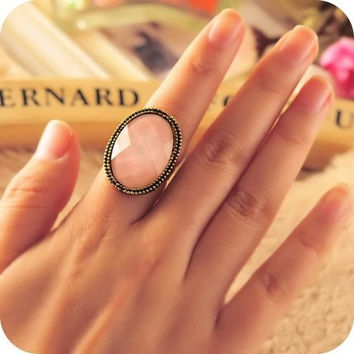 Hot sales Vintage Wedding rings for women Jewelry O Antique Bronze Nice Oval Stone Anel Aneis Female Christmas Gifts Accessories