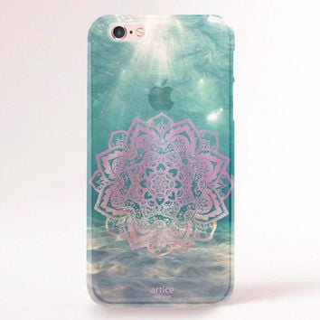Clear Transparent iPhone 6/6s case, iPhone 6/6s plus case, iPhone 5S Case, Galaxy S6, Galaxy 6 Edge, Galaxy Note 5 - Mandala under water