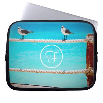 Beach birds photo custom monogram laptop sleeve