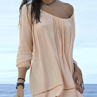 Wheat Poncho Cover Up Blouse
