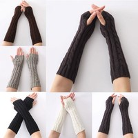 1pair Long Braid Cable Knit Fingerless Gloves Women Handmade Fashion Soft Gauntlet Practical Casual