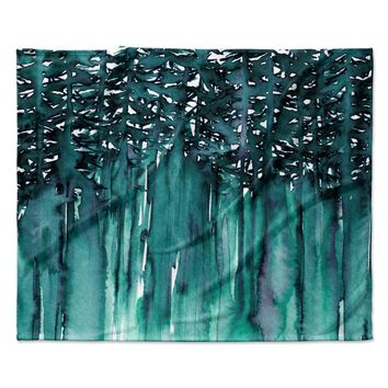 "Ebi Emporium ""Forest Through The Trees 5"" Teal White Fleece Throw Blanket"