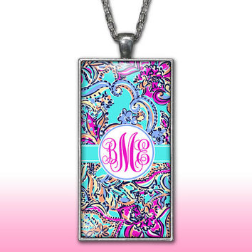 Paisley Monogram Pendant Charm Necklace Teal Aqua Personalized Custom Initial Necklace Monogram Jewelry