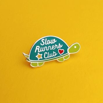 Slow Runners Club Enamel Pin in Green Turtle