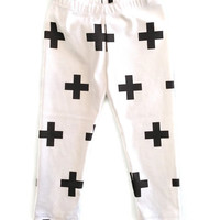 Organic White Baby Leggings Black Cross Plus Symbol Boys Girls