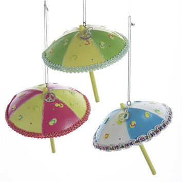 12 Christmas Ornaments - Beach Umbrellas