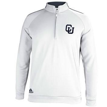 Columbia University Lions adidas 3 Stripes Piped 1/4 Zip Jacket ¨C White