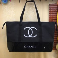 Chanel Fashion Women Shopping Bag Waterproof Canvas Leather Joining Together Shoulder Bag Environmental Protection Bag
