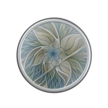 Floral Dream Pattern Abstract Blue Khaki Fractal Bluetooth Speaker