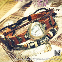 Leather Bracelet Jewelry Bangle Bracelet Women Girls Leather Gift Wrist Watch (GA0007)