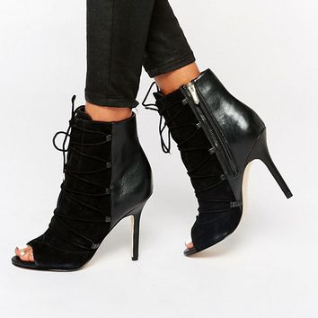 Sam Edelman Asher Black Suede Mix Peep Toe Shoe Boots at asos.com