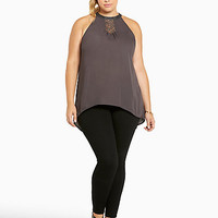 Georgette Lace Inset Mock Neck Top