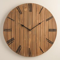 Slatted Wood Wall Clock