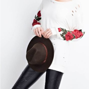 Distressed Flower Patch Embroidery Pullover