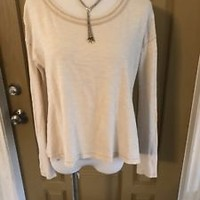 We The Free Free People Beige Top Shirt Blouse Sz XS