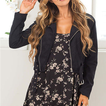 Black Floral Print Spaghetti Strap A-Line Dress