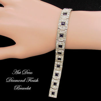 Art Deco Bracelet Diamond Finish Rhinestone Bracelet Art Deco Jewelry Wedding Jewelry
